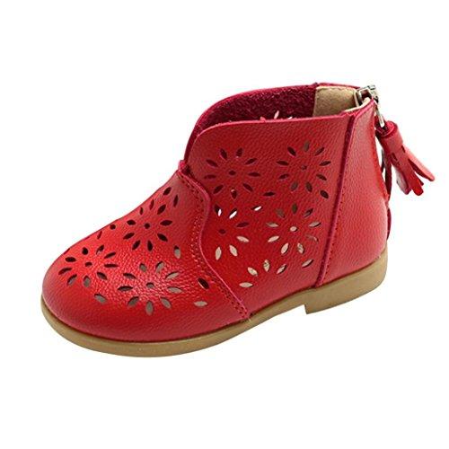 FNKDOR Mädchen Sommer Schuhe Baby Boots Kinder Sandalen Stiefel(21 EU(22CN) 13.5CM,Rot)
