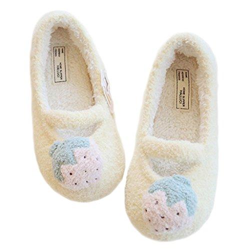 Fortuning's JDS modello delle signore delle donne delle ragazze di frutta Velluto Accogliente Casa calzature comode pantofole avvolgere Flatform fragola Giallo
