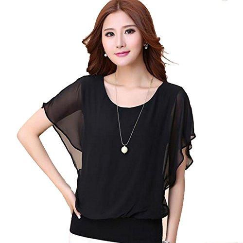 Vertvie Damen Sommer Chiffon T-Shirt Elegant Oversize Fledermausärmel Loose Fit Casual Kurzarm Rundhals Batwing Shirt Top Bluse (S(EU 34-36), Schwarz) (Chiffon-bluse Batwing Ärmel)