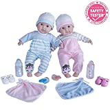 Berenguer Boutique Twins- 15 Soft Body Baby Dolls - 12 Piece Gift Set with Open/Close Eyes-...