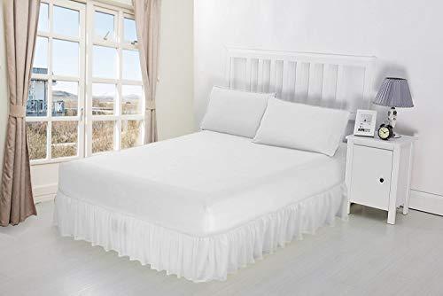 Mantovana da letto con angoli e balza a volant, 100% cotone egiziano, Cotone, White, Doppio