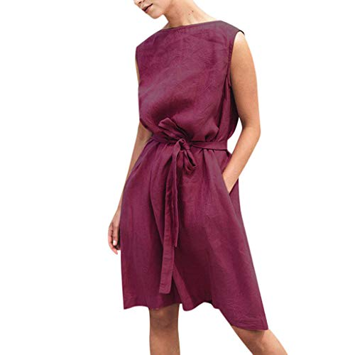 BHYDRY Art- und Weisefrauen Oansatz Sleeveless festes Verband-Baumwollleinenbeiläufiges (Vintage Mode Und Kostüm Schmuck Verband)