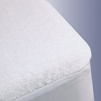 Ahmedabad Cotton Premium Water-Proof Terrycloth Mattress Protector - Queen Size, White