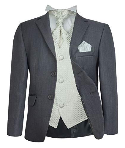 Formell Hochzeit Anzüge, Elfenbein Krawatte Abiball Seite Jungen Anzug - Grau & Creme, 128 ()