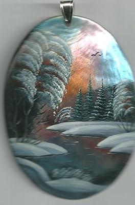 13.c. Pendentif De Nacre Russe Peint À La Main