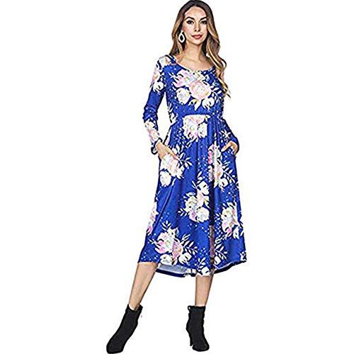 FeelinGirl Damen Lange Kleid Kleider Sommerkleider Maxikleider Blumenkleid Blumedrucken Strandkleid Rock mit Böhmen, S (EU 34-36), Blau