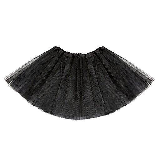 AMORETU Damen Ballett Tutu Rock Petticoat Tüll Röcke Kurz Schwarz