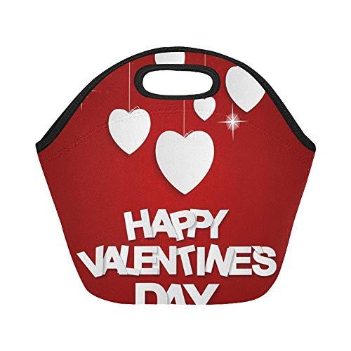 Isolierte Neopren-Mittagessentasche Happy Valentines Day Card Große wiederverwendbare thermische dicke Mittagessen Tragetaschen Für Brotdosen Für den Außenbereich, Arbeit, Büro, Schule