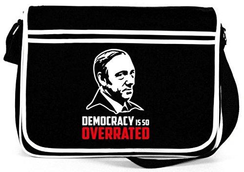 HOC - Democracy Is So Overrated, Retro Messenger Bag Kuriertasche Umhängetasche Schwarz