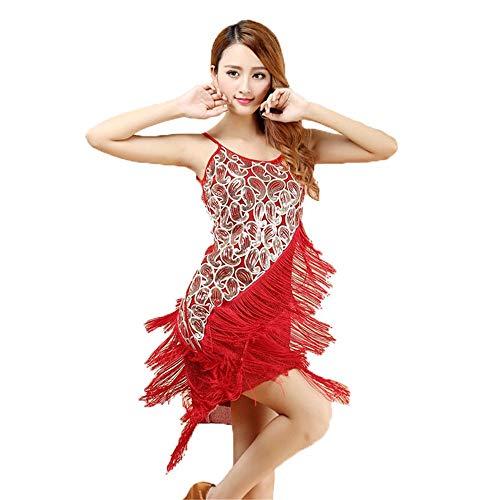 Red Erwachsenen Für Flapper Kostüm - Yuqianqian Damen Latein Dance Kleid V-Ausschnitt Frauen Latin Dance Dress Latin Training Dress Ballsaal Kostüm Erwachsene Dance Practice Performance Rock (Farbe : Rot, Größe : Einheitsgröße)