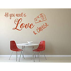 All you need is love and cheese, Vinyl, Wandkunst Aufkleber, Wandbild, Aufkleber. Haus, Wanddekoration, Küche, Esszimmer.