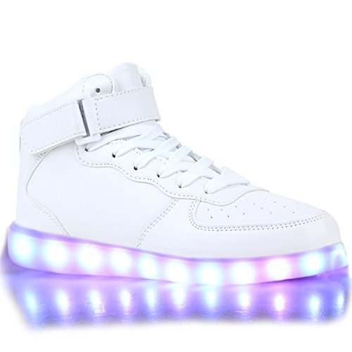 - Blinkende Damen Herren Kinder Mädchen Jungen Sneakers High Low Led Light Farbwechsel LED Licht Schuhe 114419 Weiss High White 39 | Flandell®