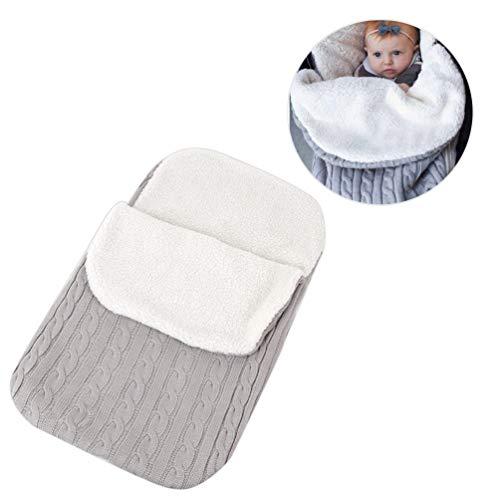 Lykke. Kinderwagen Schlafsack, Warme Dicke Kinder Stricken Decke Weiche Bequeme Wickeldecke für 0 12 Monate Baby - Hellgrau (Kinder Für Spiderman-schlafsack)