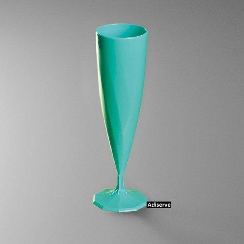 10 flûtes à champagne plastique jetable couleur bleu turquoise nacré - Adiserve -