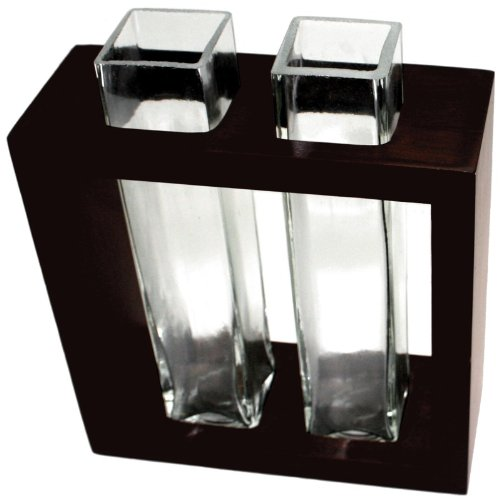 Vase aus Mangoholz mit 2 Glaseinsätzen braun Design Deko Vase Holz mit Glaseinsatz Holzvase