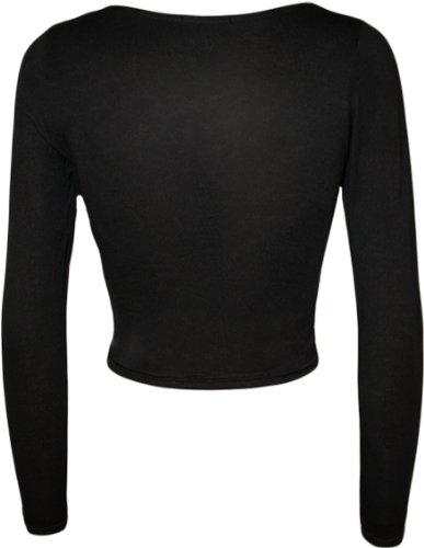 WearAll - Haut court à manches longues avec un col rond - Haut - Femmes - Tailles 36 à 42 Noir