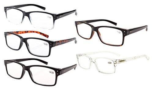 Eyekepper 5er-Pack Federscharniere Vintage Herren -Lesebrille mit Sonnenschützt Gläsern +4.00