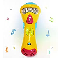 WISHTIME Kids Sound Toys (Recording, Transform Acoustic, Songs and Lighting) First Electronic Karaoke Musical Microphone for Chirldren