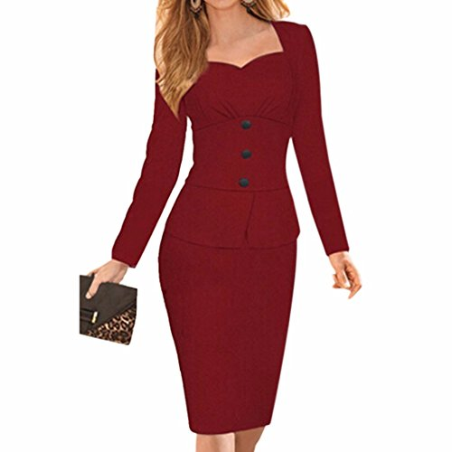 Femmes Sexy Slim encolure carree robe amanches longues Roune cou Crayon Bodycone Robes vin rouge