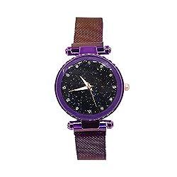 Armbanduhr mit magnetischem Verschluss, für Damen violett