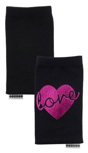Trendz Universal Smartphone Handysocke mit Metallic Love Heart Design - Schwarz mit Herz im Metallic Pink