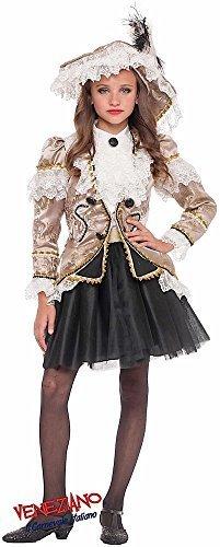 Fancy Me Italian Made Mädchen Deluxe Gold Renaissance Piraten Halloween Buch Tag Woche Party Kostüm Kostüm Outfit 0-12 Jahre - Gold, 7 Years