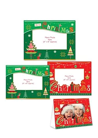 Merry Christmas Traditional Design Photo Frame Glitter Cards with Envelopes