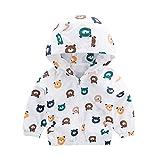 Yazidan Kinderjacke Bär Kopf Baby Oberbekleidung Mantel Jungen Mädchen Kinder zur Seite Fahren Mit Kapuze Kleidung Herbst Winter Leicht Mantel Parka Windjacke Kimono Beiläufig Niedlich(Weiß,90)