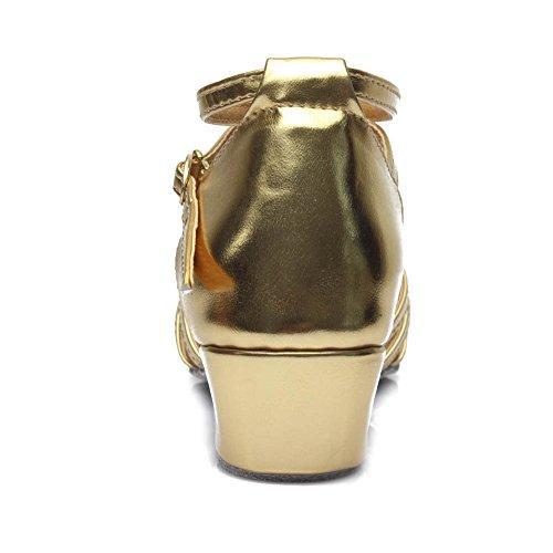 Latin HROYL DS 202 Ballsaal M盲dchen Tanzschuhe Dance Gold Satin Schuhe Modell wwRBAZEq
