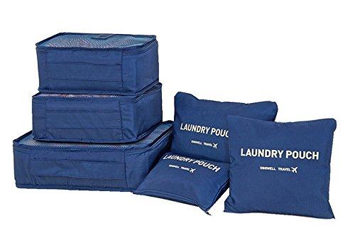 Samtaiker Kleidertaschen 7 Stück Set-3 Verpackungs Würfel+3 Beutel+1 shoes bag Kompresse Ihre Kleidung während der Reise (Grau) Blau