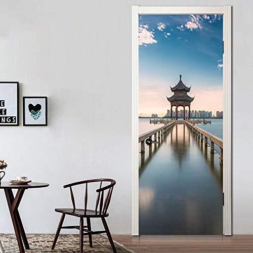 FCFLXJ 3D Tür Wandbilder Chinesischer Pavillon 95X215CM Herausnehmbare PVC Wasserdicht Wallpaper Selbstklebende Wandbilder Schlafzimmer Home Tür Aufkleber Abziehbild Wandtattoos Wandbilder