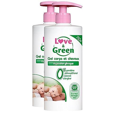 Love & Green - Gel pour Corps/Cheveux Hypoallergénique 750 ml - Lot de 2