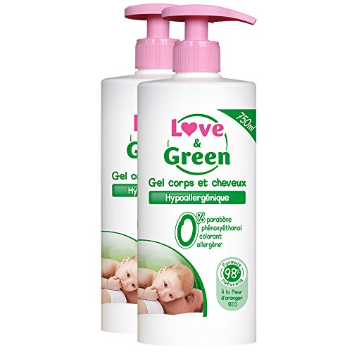 Love & Green - Gel pour Corps/Cheveux Hypoallergénique 750 ml - Lot de 2