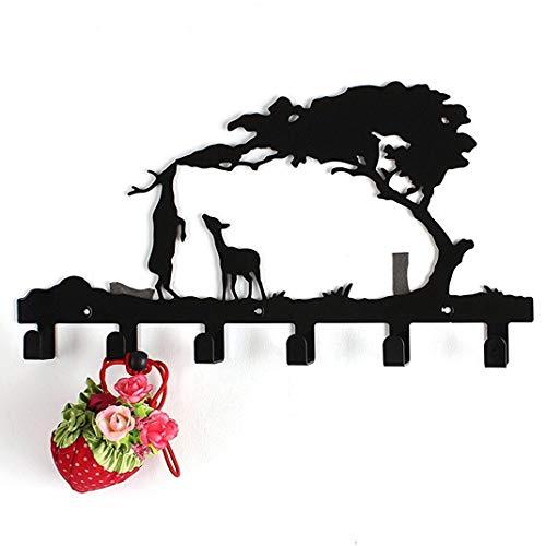 McDoo! Garderobenhaken Hakenleiste, Wandmontierter Wandgarderobe Hohe Beanspruchung Kleiderhaken mit 6 Metallhaken - Wandhaken Mehrzweckhaken Handtuchhalter Küche Wohnzimmer für Jacken Hüte Schlüssel