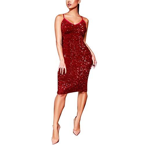 YWLINK Damen Tank Pailletten Bodycon Kleid Sexy Sling Abendparty Partykleid Elegant Klassisch RüCkenfrei Midi Nachtclub Kleiden(Rot,S)