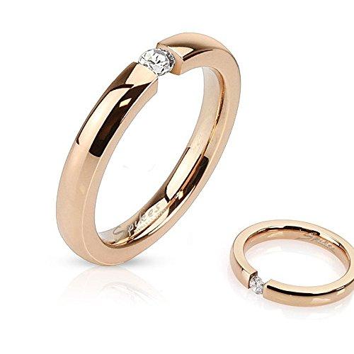 Autiga Damen Ring Edelstahl Zirkonia Kristall Partnerring Ehering Verlobungsring Rosé Rose-Gold 49 - Ø 15,70 mm