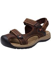 Parte superiore in pelle da uomo in velcro sandalo, con croce cinghia anteriore e soletta imbottita, Marrone (Brown Leather), 47