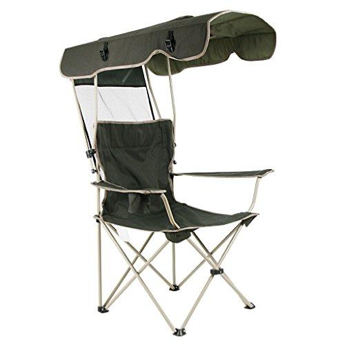 Homelx Klappstuhl mit Sonnensegel Liegestuhl Regenschirm Portable