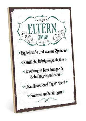 TypeStoff Holzschild mit Spruch – Eltern GmbH – im Vintage-Look mit Zitat als Geschenk und Dekoration zum Thema Erzeiehung und Geschenk zum Einzug