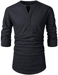 Nearkin Men Henley Neck Roll Up Solid Long Sleeve Linen Stand Collar Shirts