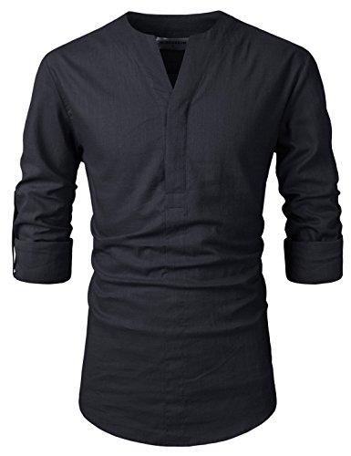 Nearkin (NKNKN370 Mens No-Button Slit Vanguard Linen Henley Neck Shirts b8bac42d20