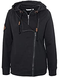 Urban Surface Damen Sweatjacke mit doppeltem Zipper und Kapuze | Sportlich - Eleganter Hoodie einfarbig