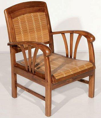 MACABANE Nomades Design 500268 Fauteuil Couleur Bambou en Teck et Bambou Dimension 60cm X 60cm X 82cm