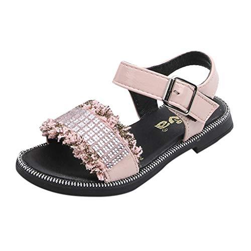 feiXIANG Sandalen Kleinkind Mädchen Bling Kristall Prinzessin Schuhe Fashion Open Toe Beach Shoes Sommer Sandals Flach Slipper (Rosa,31)