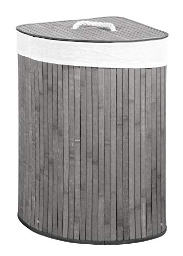 Verdelook cesto porta biancheria ad angolo grigio con coperchio e maniglie foderato, 35x35x60 cm