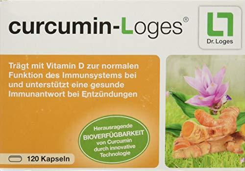 curcumin-Loges Kurkuma-Extrakt-Konzentrat - 120 Kapseln, hohe Bioverfügbarkeit, mit Vitamin D