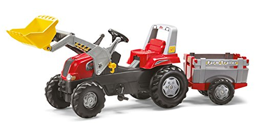 *Rolly Toys 811397 Traktor rollyJunior RT mit Frontlader rollyJunior Lader und Anhänger rollyFarm Trailer, Motorhaube öffenbar (geeignet für Kinder ab 3 Jahren, Farbe Rot)*