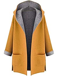 68d7243f651cb8 Damen Lange Outwear Damen große Größe Mäntel Fahion Coat Jacket mittellange  lose vorne offen Kapuzenmantel mit