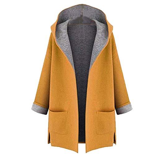 Damen Lange Outwear Damen große Größe Mäntel Fahion Coat Jacket mittellange lose vorne offen Kapuzenmantel mit Taschen Moonuy