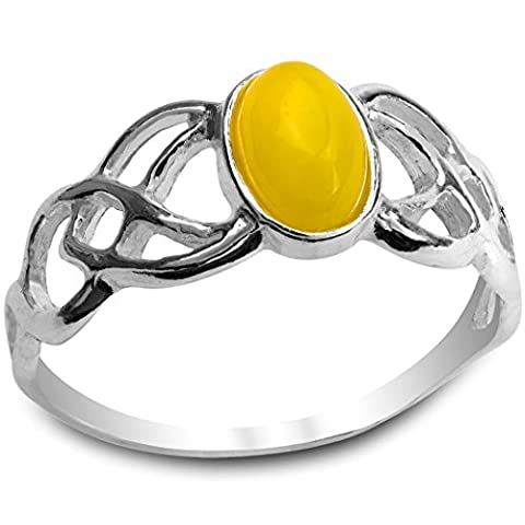 Butterscotch Bernstein Sterling Silber Celtique Oval Ring